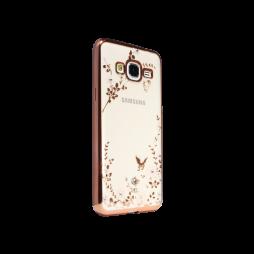 Samsung Galaxy J3 (2016) - Gumiran ovitek (TPUE) - roza rob - bele rožice