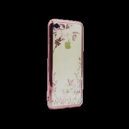 Apple iPhone 7/8 - Gumiran ovitek (TPUE) - roza rob - bele rožice