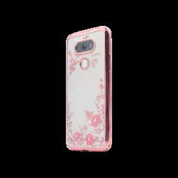 LG G5/G5 SE - Gumiran ovitek (TPUE) - roza rob - roza rožice