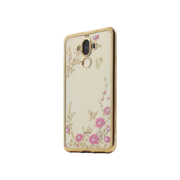 Huawei Mate 9 - Gumiran ovitek (TPUE) - zlat rob - roza rožice