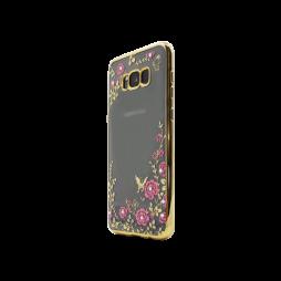 Samsung Galaxy S8 - Gumiran ovitek (TPUE) - zlat rob - roza rožice