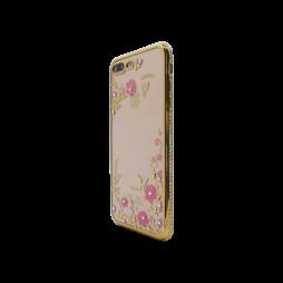Apple iPhone 7 Plus/8 Plus - Gumiran ovitek (TPUDE) - zlat rob - roza rožice
