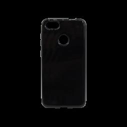 Huawei P9 Lite mini - Gumiran ovitek (TPU) - črn svetleč