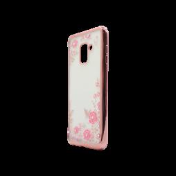 Samsung Galaxy A8 (2018) - Gumiran ovitek (TPUE) - roza rob - roza rožice