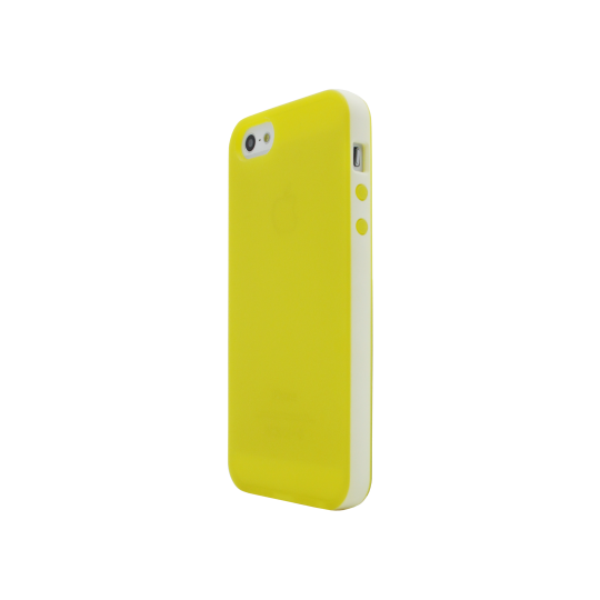 Apple iPhone 5/5S/SE - Gumiran ovitek (17) - rumeno-prosojen