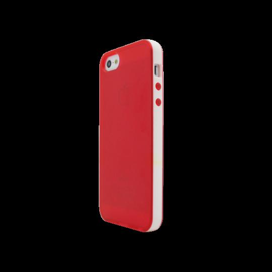 Apple iPhone 5/5S/SE - Gumiran ovitek (17) - rdeče-prosojen