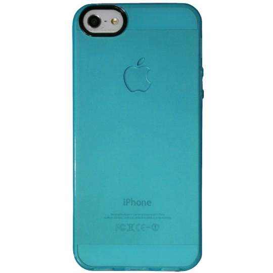 Apple iPhone 5/5S/SE - Gumiran ovitek (TPU) - modro-prosojen črn krog
