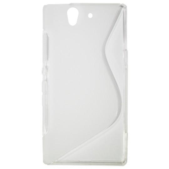 Sony Xperia Z yuga - Gumiran ovitek (TPU) - belo-prosojen SLine