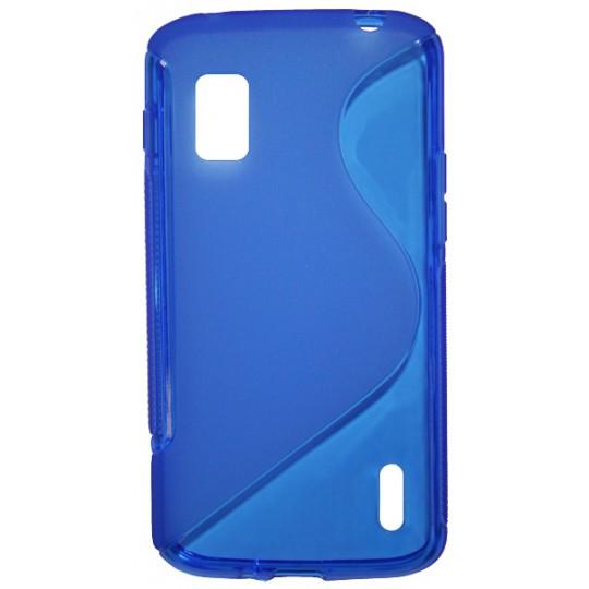 LG Nexus 4 - Gumiran ovitek (TPU) - modro-prosojen SLine