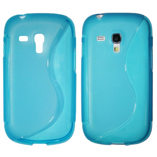 Samsung Galaxy S3 Mini - Gumiran ovitek (TPU) - modro-prosojen SLine