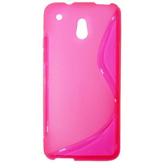 HTC One mini - Gumiran ovitek (TPU) - roza-prosojen SLine
