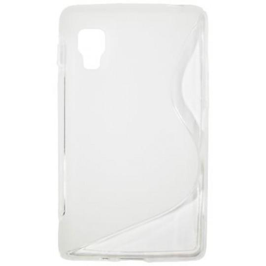 LG Optimus L4 II - Gumiran ovitek (TPU) - belo-prosojen SLine