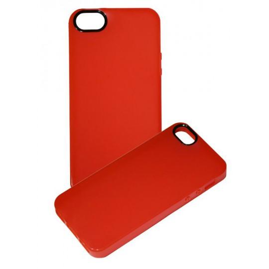Apple iPhone 5/5S/SE - Gumiran ovitek (TPU) - rdeče-prosojen črn krog