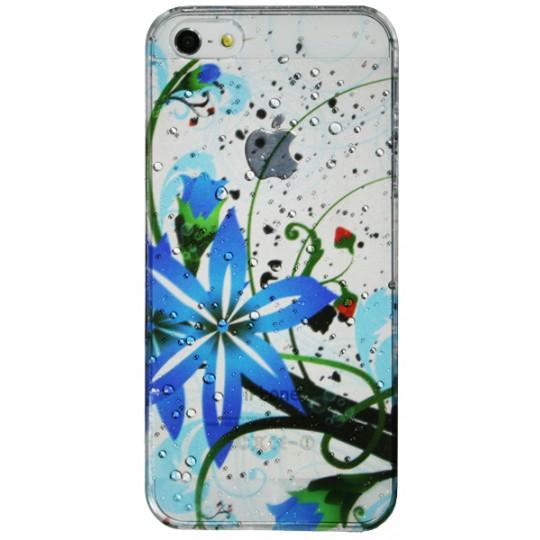 Apple iPhone 5/5S/SE - Okrasni pokrovček (32) - Modra roža