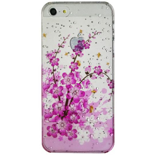 Apple iPhone 5/5S/SE - Okrasni pokrovček (32) - Rožice s čebelami