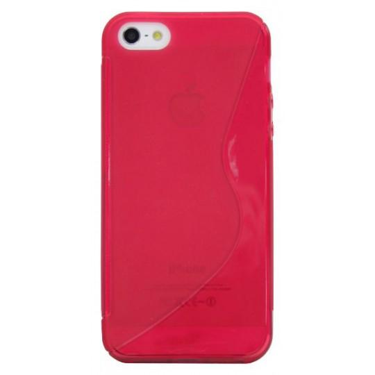 Apple iPhone 5/5S/SE - Gumiran ovitek (TPU) - rdeče-prosojen Sline