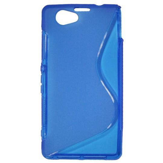 Sony Xperia Z1 Compact - Gumiran ovitek (TPU) - modro-prosojen SLine