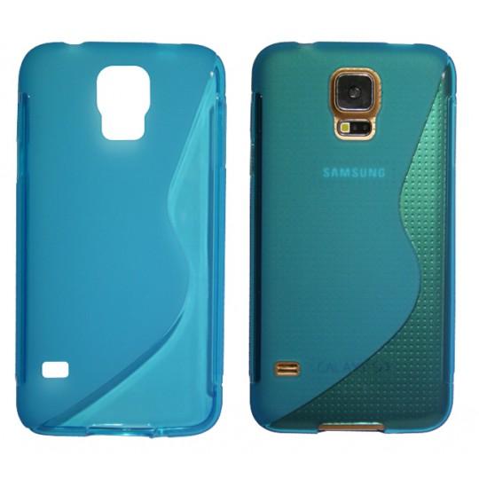 Samsung Galaxy S5/S5 Neo - Gumiran ovitek (TPU) - modro-prosojen SLine