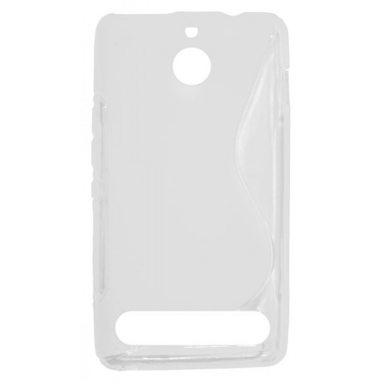 Sony Xperia E1 - Gumiran ovitek (TPU) - belo-prosojen SLine