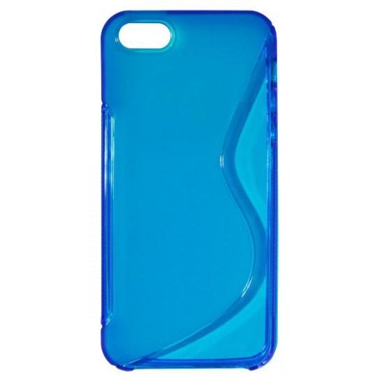 Apple iPhone 5/5S/SE - Gumiran ovitek (TPU) - modro-prosojen SLine