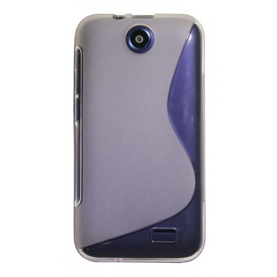 HTC Desire 310 - Gumiran ovitek (TPU) - belo-prosojen SLine