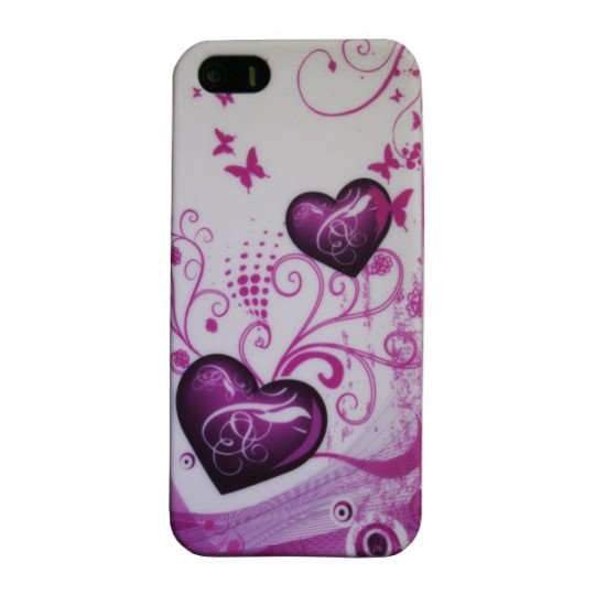 Apple iPhone 5/5S/SE - Gumiran ovitek (TPUP) - White pink hearts