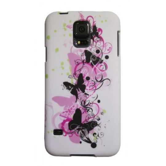 Samsung Galaxy S5/S5 Neo - Gumiran ovitek (TPUP) - Pink&black butterfly