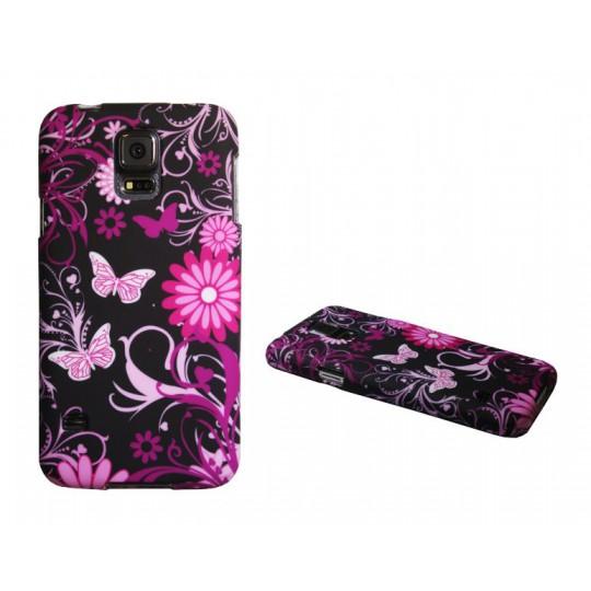 Samsung Galaxy S5/S5 Neo - Gumiran ovitek (TPUP) - Pinky flowers dark