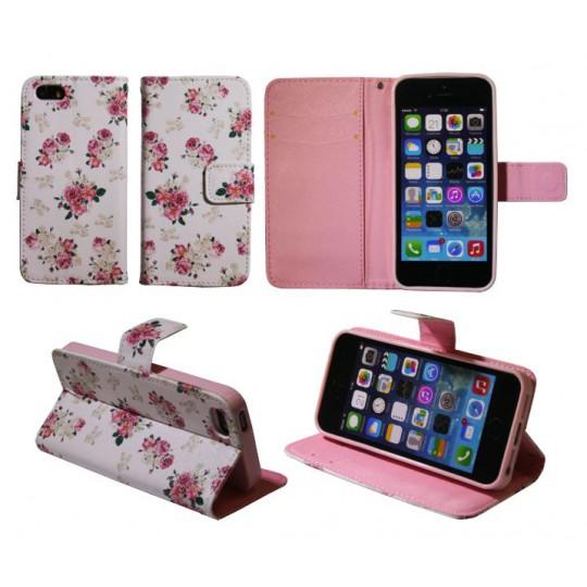Apple iPhone 5/5S/SE - Preklopna torbica (WLGP) - Flowers