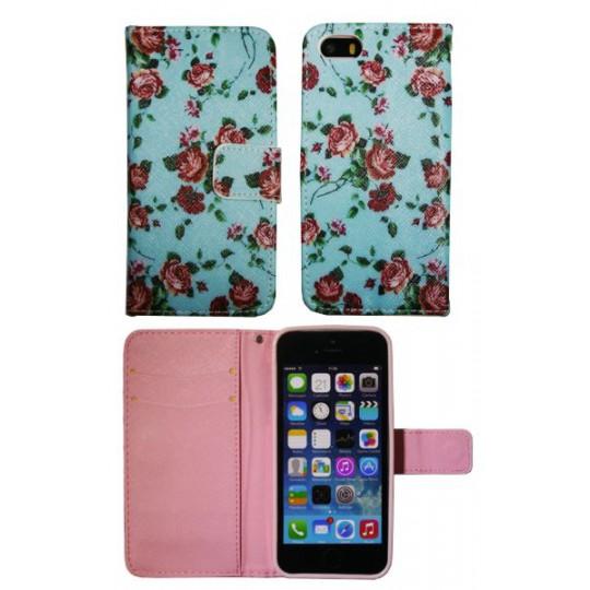 Apple iPhone 5/5S/SE - Preklopna torbica (WLGP) - Blue flowers