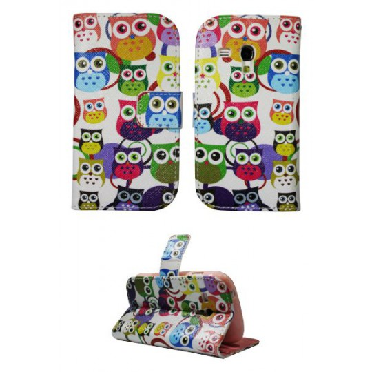 Samsung Galaxy S3 Mini - Preklopna torbica (WLGP) - Colorful owls