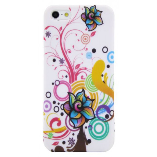 Apple iPhone 5/5S/SE - Gumiran ovitek (TPUP) - Circles & flowers