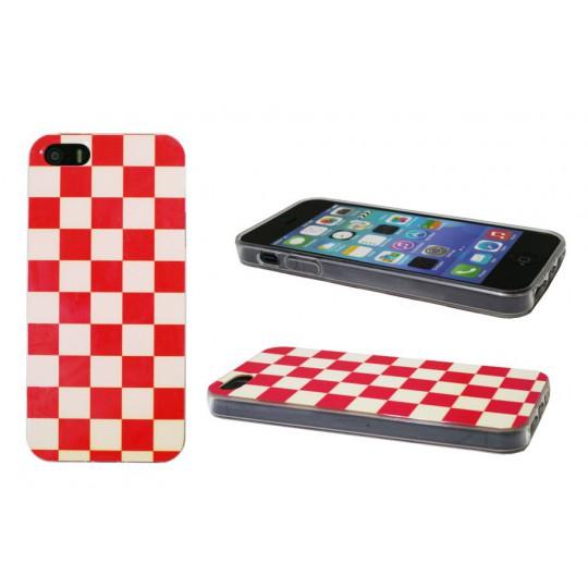 Apple iPhone 5/5S/SE - Gumiran ovitek (TPUPS) - Šahovnica