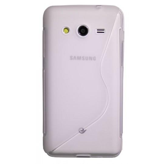 Samsung Galaxy Core 2 - Gumiran ovitek (TPU) - belo-prosojen SLine