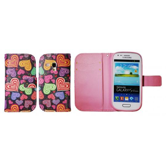 Samsung Galaxy S3 Mini - Preklopna torbica (WLGP) - Colorful hearts