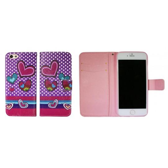 Apple iPhone 6/6S - Preklopna torbica (WLGP) - Dots&hearts