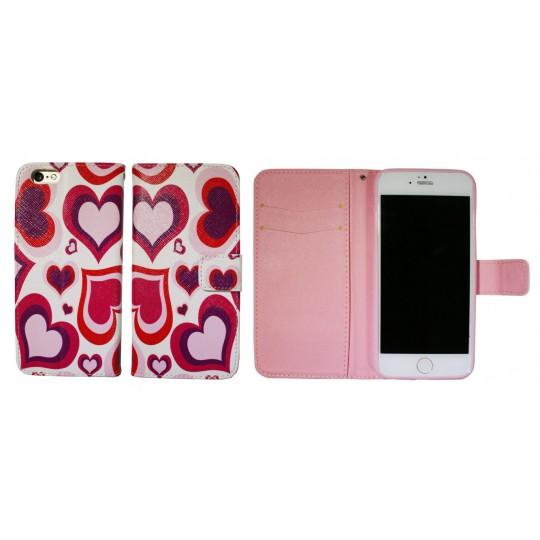 Apple iPhone 6/6S - Preklopna torbica (WLGP) - Red hearts