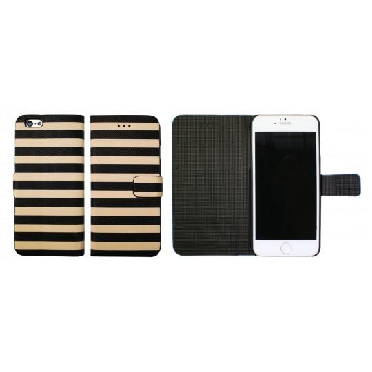 Apple iPhone 6/6S - Preklopna torbica (60) - Navy black and beige
