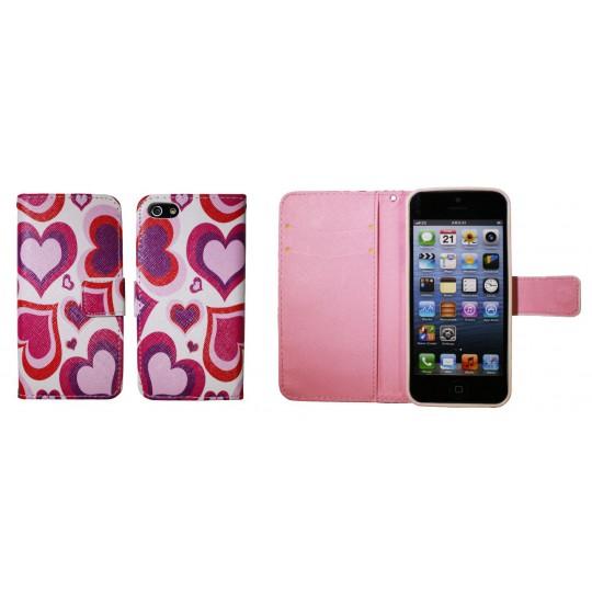 Apple iPhone 5/5S/SE - Preklopna torbica (WLGP) - Red hearts