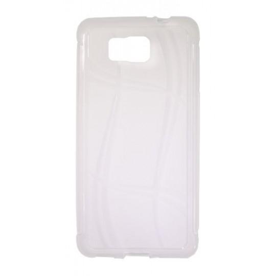 Samsung Galaxy Alpha - Gumiran ovitek (TPU) - belo-prosojen WLine