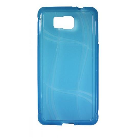 Samsung Galaxy Alpha - Gumiran ovitek (TPU) - modro-prosojen WLine