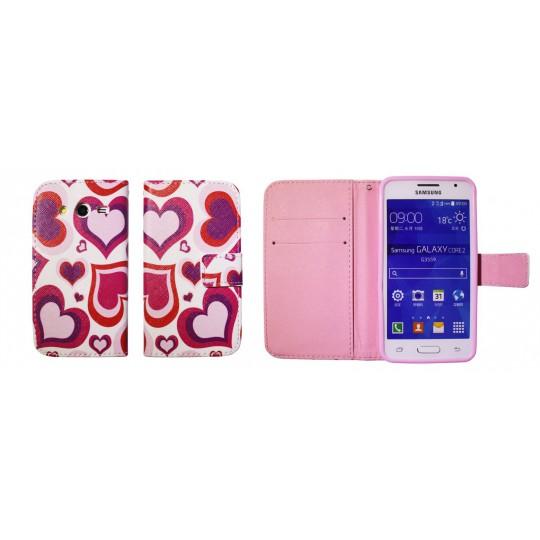 Samsung Galaxy Core 2 - Preklopna torbica (WLGP) - Red hearts