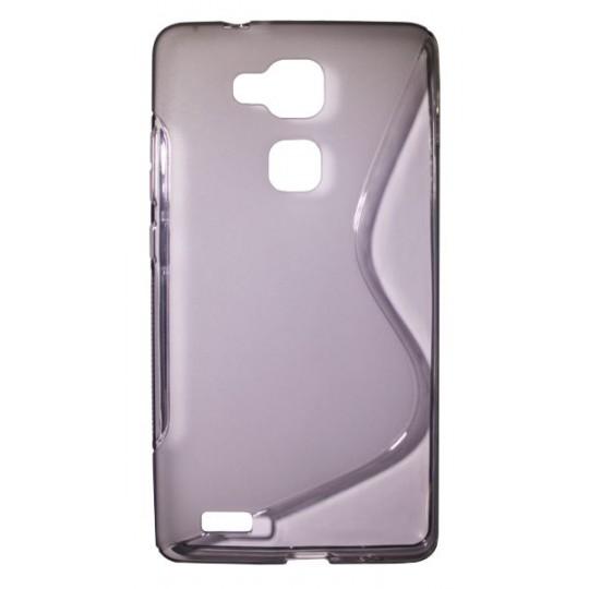 Huawei Mate 7 - Gumiran ovitek (TPU) - sivo-prosojen SLine
