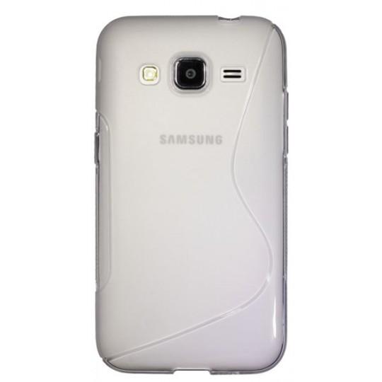 Samsung Galaxy Core Prime - Gumiran ovitek (TPU) - belo-prosojen SLine