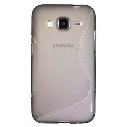 Samsung Galaxy Core Prime - Gumiran ovitek (TPU) - sivo-prosojen SLine