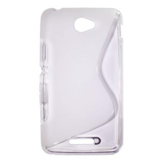 Sony Xperia E4 - Gumiran ovitek (TPU) - belo-prosojen SLine
