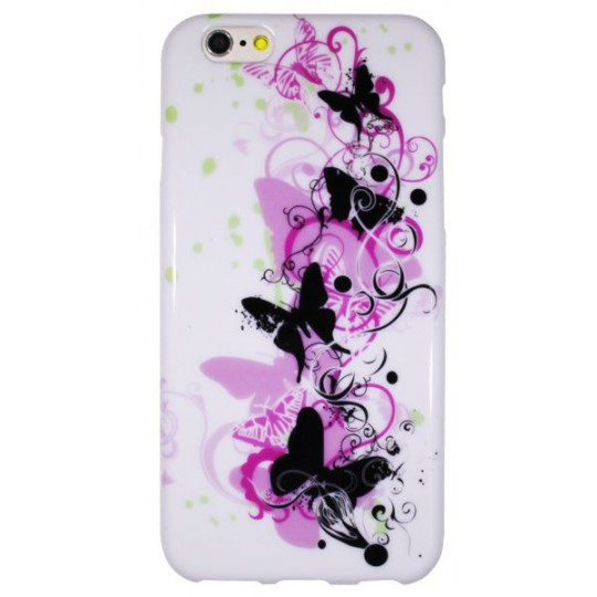Apple iPhone 6/6S - Gumiran ovitek (TPUP) - Pink&black butterfly