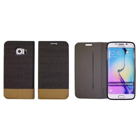 Samsung Galaxy S6 Edge - Preklopna torbica (67G) - črna