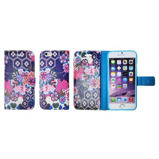 Apple iPhone 6/6S - Preklopna torbica (WLGP) - Purple garden