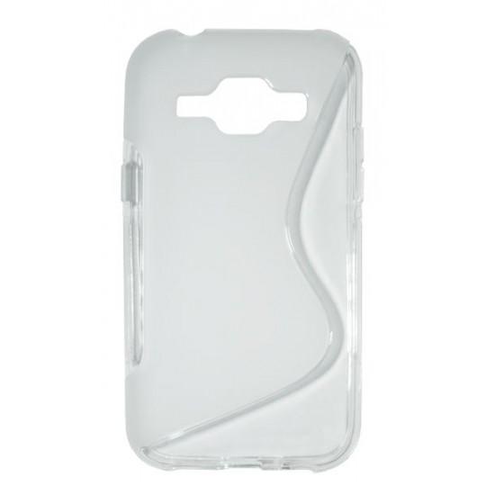 Samsung Galaxy J1 - Gumiran ovitek (TPU) - belo-prosojen SLine